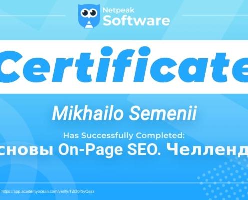 Сертификат Семений Михаила о обучении SEO Netpeak